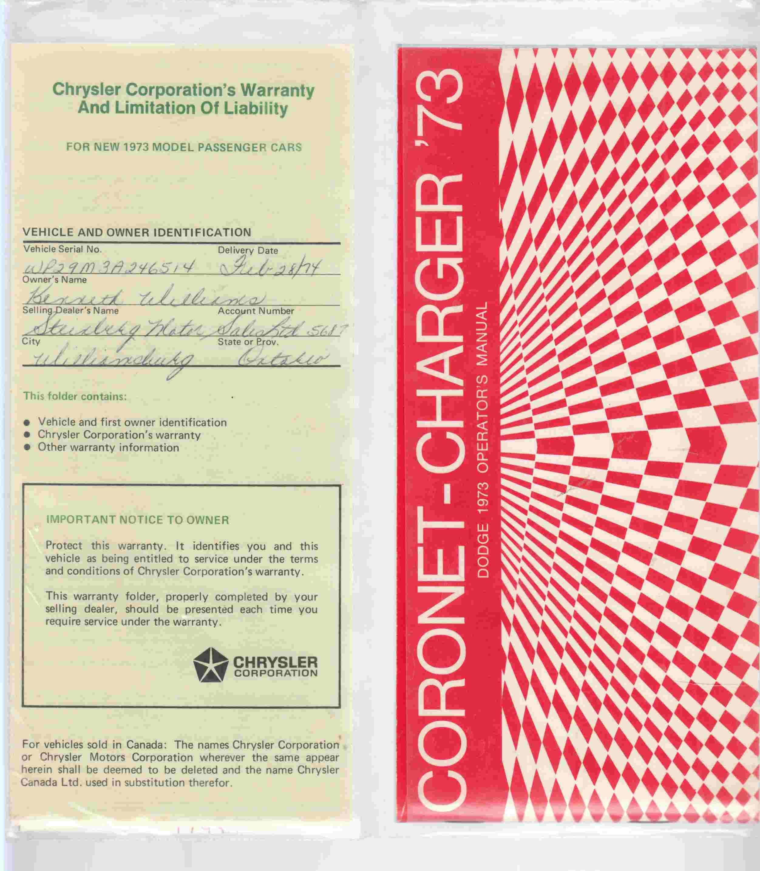Image for Coronet - Charger '73 Dodge 1973 Operator's Manual
