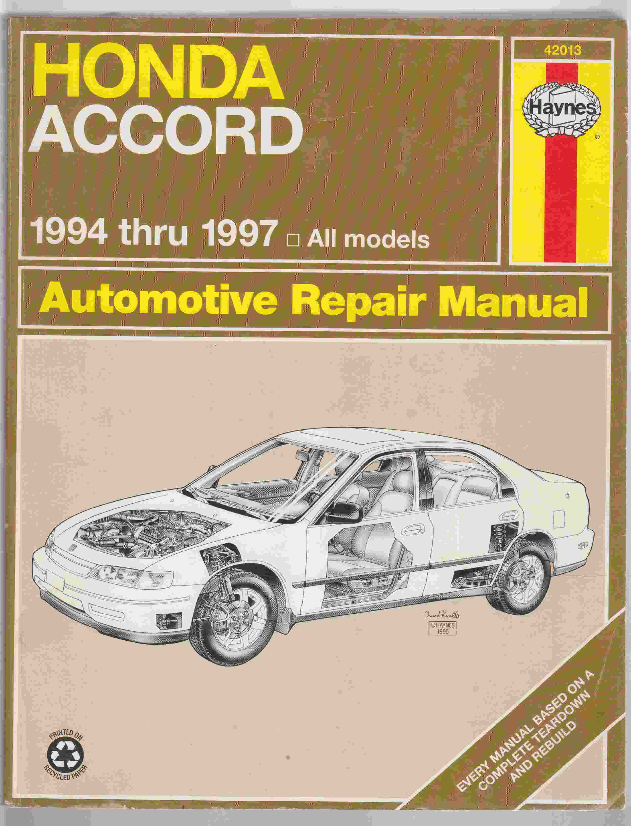 Image for Honda Accord 1994 Thru 1997 Automotive Repair Manual